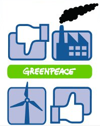 The image for Greenpeace's Facebook page urging it to use renewable energy